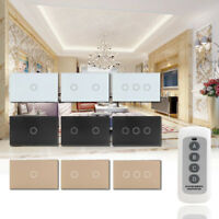 1/2/3Gang Smart Touch Light Switch Crystal Glass Panel Remote Control 1 Way
