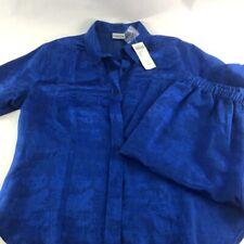 Chicos Womens 2pc Pajama Set Blue Brocade Button Up Short Sleeve Capri 2 L New