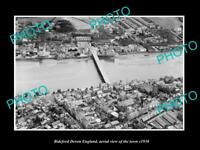 OLD LARGE HISTORIC PHOTO OF BIDEFORD DEVON ENGLAND, AERIAL VIEW OF TOWN c1930 1