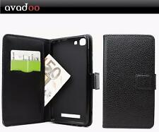 avadoo® Cubot Rainbow Flip Case Cover Tasche Leder in Schwarz Dualnaht Cover