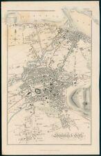 Edinburgh & Leith plan, original antique map, c1856