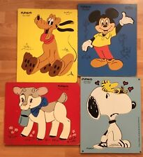 Disney / PlaySkool Board Puzzles (4) • Snoopy, Mickey Mouse, Pluto, Peanuts