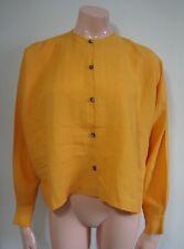ESKANDAR Yellow Linen Button-up Collarless Shirt, size 0