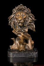 "Art Deco Sculpture Modern art bronze ""Lion head"" statue bronze home decor"