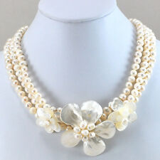 Women Jewelry Natural White Pearl Shell & MOP Flower Pendant Necklace 16""