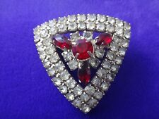RARE VINTAGE LARGE CHRISTMAS TRIANGLE RED & WHITE RHINESTONE PIN/BROOCH