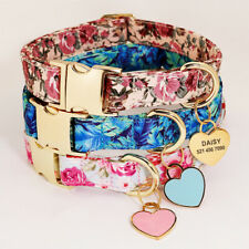 Floral Personalized Dog Collar With Engraved ID Name Tag Heart Shape Customized