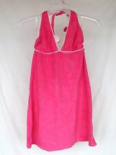 Kim Rogers Beach L Hot Pink~White Piped Terry Halter Style Beach Cover Up CLEAN!