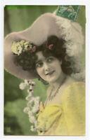 c 1908 Glamour Young LADY w/ PINK HAT Pretty Woman photo postcard