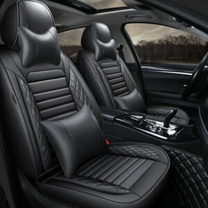 Black PU Leather Car Set Covers Sporty Front Rear Car Seat Covers with Cushions