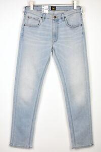 LEE DAREN ZIP FLY Men W32/L32 Regular Straight Stretch Light Blue Jeans 17628