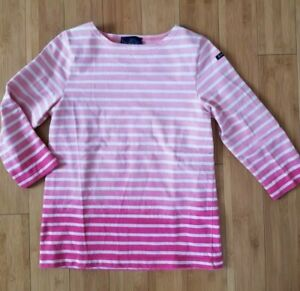 Le Minor Madewell pink white french breton nautical stripes knit top 0 2 XS