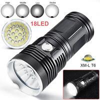80000 LMs 18x CREE XM-L T6 LED Flashlight Military Torch 4X18650 Hunting LampS
