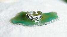 Silberring Ring Zehenring Offen Silber Kinderring Sterne Mond Glänzend Schlicht