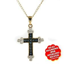 1/4 Ct Blue,White Diamond 14K Rose Gold Over Cross Pendant Free & Fast Shipping