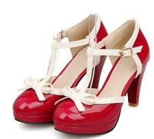 Lolita Chic Womens t-strap Pumps Sweet Court Plus Size Low Heel Platform Shoes
