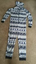 NEW LOOK BLUE WHITE FAIR ISLE CHRISTMAS FLUFFY COSIE  HOODED ONEZIE SMALL ZIP