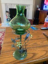 "Decorative Flower Stand Green Lantern Decor Tea Light 12"" Tall"