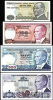TURKEY 10 100 500 1000 LIRA UNC A PREFIX 4 PCS SET 1979 - 1986 P 192 194 195 196