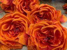 "Vintage Silk 5"" Deep True Orange Leaves Czech Flower Hand Rolled"