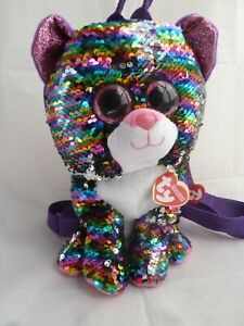 Ty Beanie Fashion Dotty the Rainbow Leopard Square Back Pack Sequin