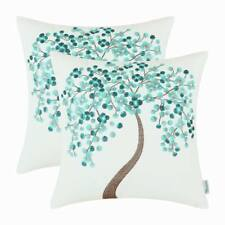 2Pcs Calitime Cushion Covers Pillow Shell Teal Cherry Tree Home Decor 45cmx45cm