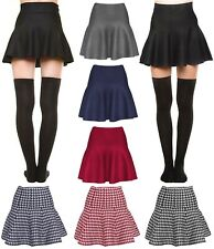 Womens Basic Winter Knit Stretchy Sexy Flared Skater Skirt
