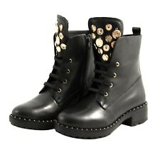Shoes Booties Combat Boots Apepazza Woman Black Leather Goldtone Gold Rame.