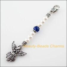 2Pcs Fashion 100mm KeyChain Clasps Tibetan Silver Glass Crystal Angel Pendants