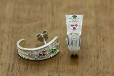 Byzantine Earrings-Rubies,Emeralds-925 Sterling Silver Platinum Plated GREEK ART
