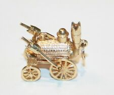 Stunning 9ct Gold Articlated Charm of Stephenson's Rocket Steam Train 7.2 Grams