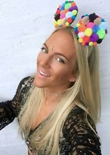 Pom Pom Ears Fascinator Hair Head Alice Band Choochie Hippy Bohemian Festival