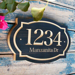 Address Plaque House Numbers Sign Wood Street Name