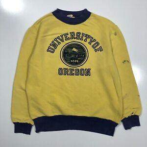 University of Oregon Yellow Vintage Pullover Crewneck Sweatshirt Mens Small