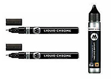 Molotow Liquid Chrome Pack - 2x 1mm Markers & 30 ml Refill - NEW - Free Shipping
