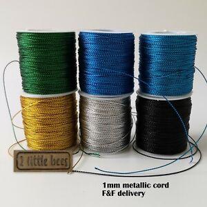1mm Metallic Cord Jewellery Braided Thread Gold Silver Blue Black Craft supply