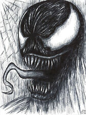 "Venom 8.5"" x 11"" ink drawing Spiderman Carnage"