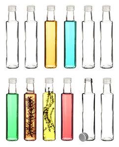 12er Set Likörflaschen 250ml leer Glas Schnaps Flaschen für Saft Öl zum Befüllen