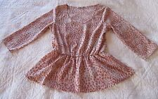 Collective Concepts Womens Top M Peach/Brown Print Elastic Waist 3/4 Sleeve EUC