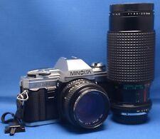 MINOLTA X-370 VINTAGE SLR 35mm Film Camera 50mm f/1.7 MACRO 80-200mm f/4.5 Lens