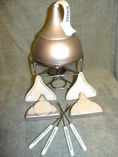 HERSHEY'S Chocolate KISS  Silver Fondue Pot  4 Skewers  & Porcelain plates