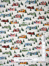 Christmas Fabric - Retro House Tree Snow Holiday Winter #1253 Makower - Yard