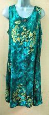Hawaii Batik Tank Dress Jade Green & Gold Floral Button Front Hippie Boho. XXL