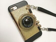 Camera cell phone case Retro Design Bling Gold iPhone 7