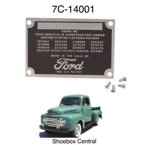 1948 1949 1950 1951 1952 Ford Pickup Firewall Data VIN Serial Tag Plate