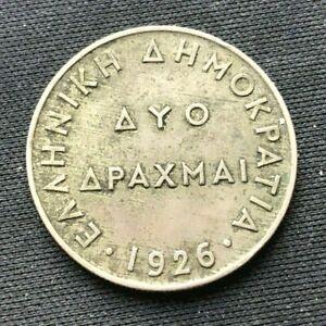 1926 Greece 2 Drachmai coin XF    World Coin Copper nickel     #K1612