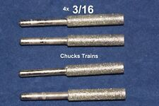 "4 pc 3/16"" DIAMOND CHAINSAW SHARPENER BURR Stone File fits Dremel 1453"