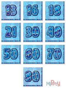 Birthday Napkin Glitz Blue 33x33cm 13th - 80th & Happy Birthday Party Decoration