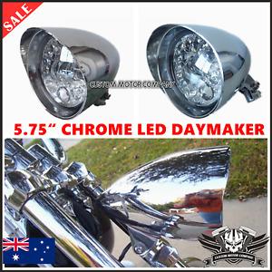 "5.75"" Chrome LED indicator bullet headlight Harley breakout rocker FXSB FXCW"
