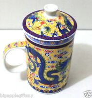 NEW YELLOW Dragon Ceramic Porcelain Tea Cup Coffee Mug with Infuser and Lid